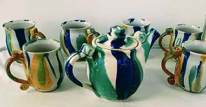 Wattlefield Pottery - Andrea Young - Teapot and mugs